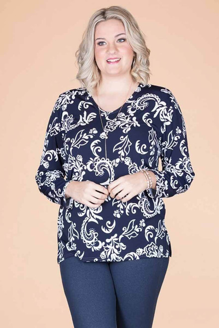 At Your Leisure Side Slit Top - Blue Embossed Floral Print