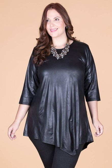 Say it Out Loud Tunic - Black Faux Leather