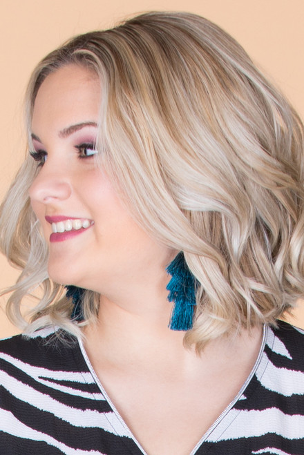 Layered Tassel Earrings - Teal