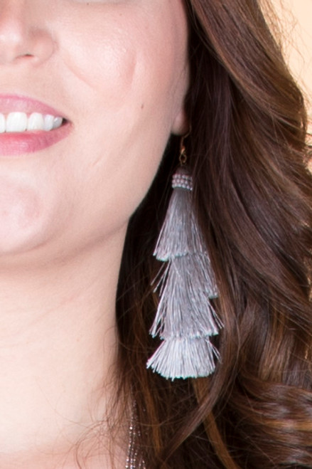 Layered Tassel Earrings – Grey