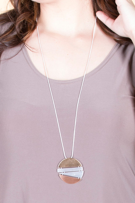 Mixed Metal Tone Split Round Pendant Necklace - Silver / Mixed