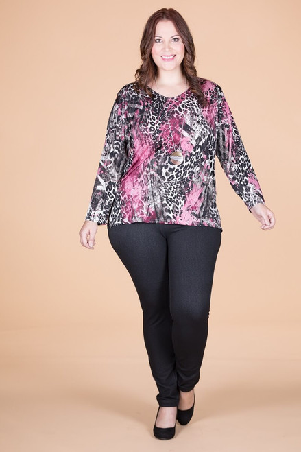 At Your Leisure Side Slit Top - Pink Animal Print
