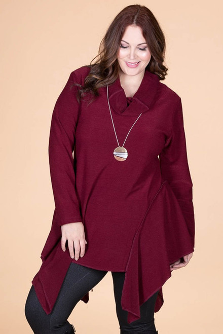 Coffee Break CowlNeck Tunic -  Wine