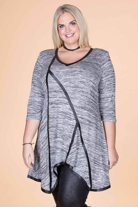 Day into Evening Tunic - Mixed Grey Print