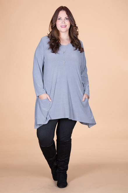 Chevron Shaped Tunic with Pocket - Grey