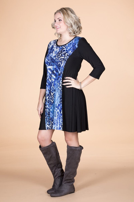 Keynote Speaker Dress - Blue Animal Print