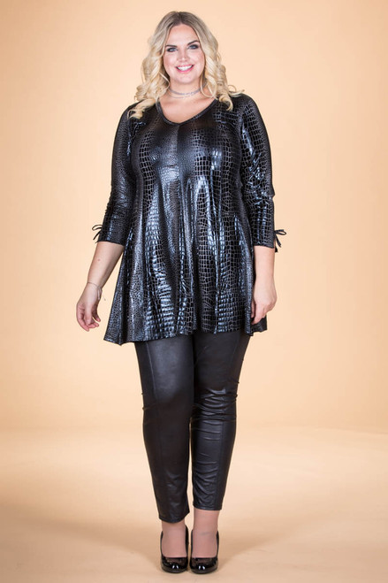 Off the Cuff Tunic - Silver Crocodile Print