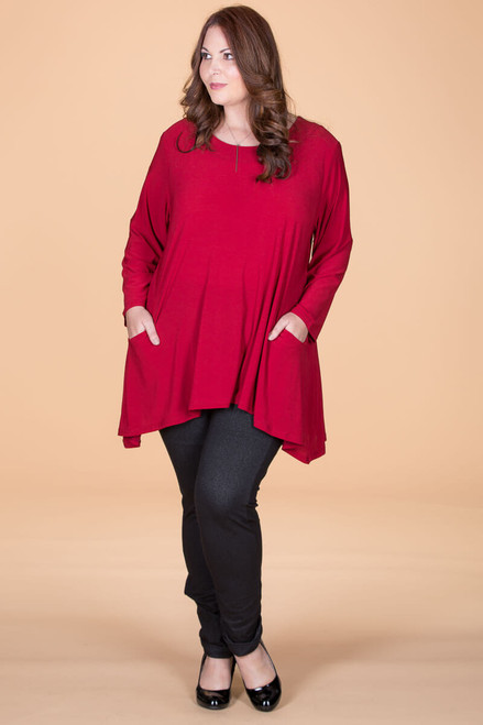 Chevron Shaped Tunic with Pocket - Dark Red