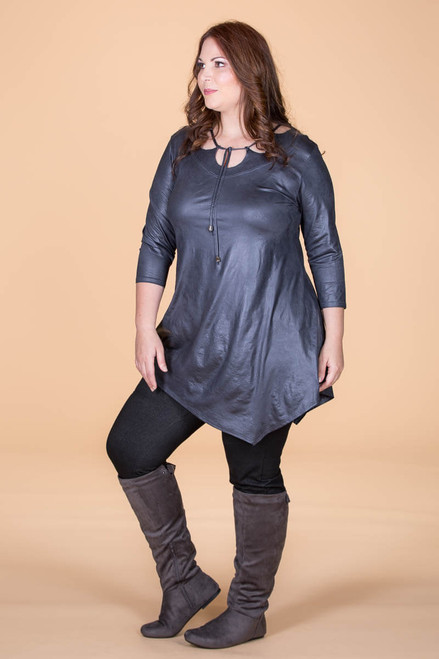 All I Could Wish For Tunic - Grey Faux Leather