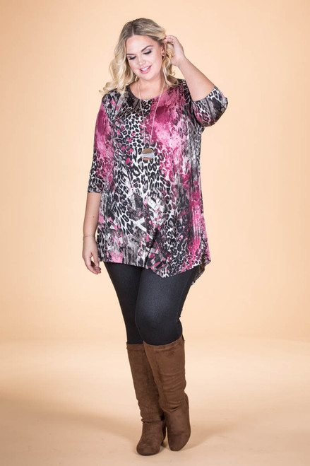 Say it Out Loud Tunic - Pink Animal Print