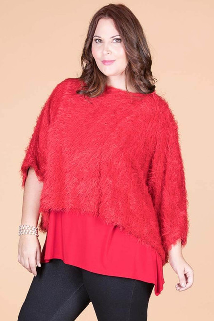 Transformative Fur Layering Top - Red