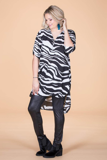 High-Low Chiffon Tunic - Animal Print