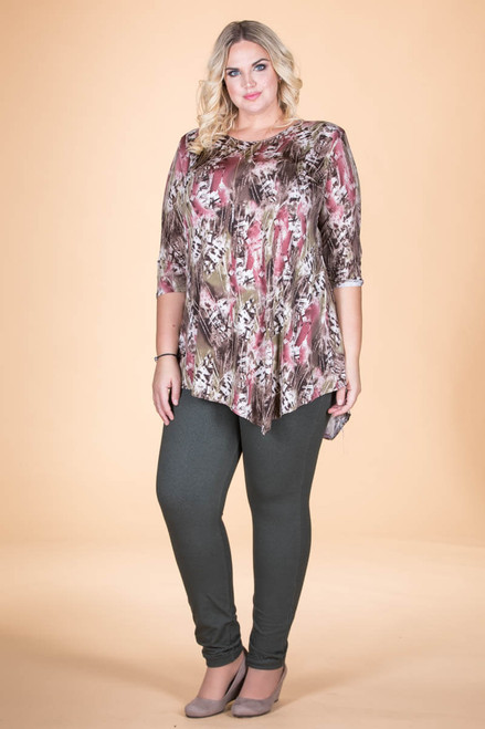 Say it Out Loud Tunic - Green Feather Print