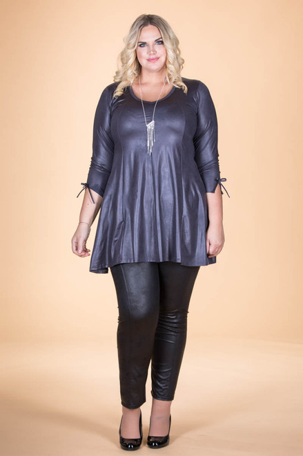 Off the Cuff Tunic - Grey Faux Leather