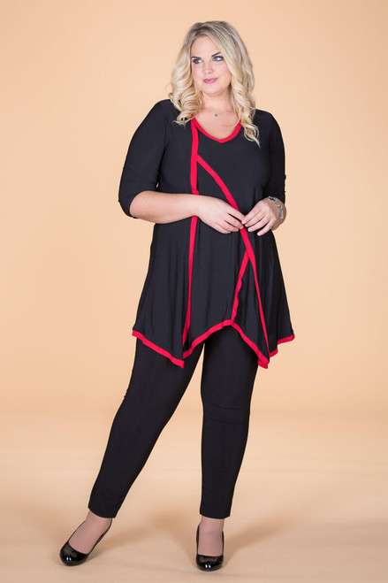 Day into Evening Tunic - Black/Red