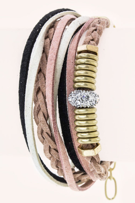 Mix Hoops & Wrapped Layer Suede Bracelet - Multi