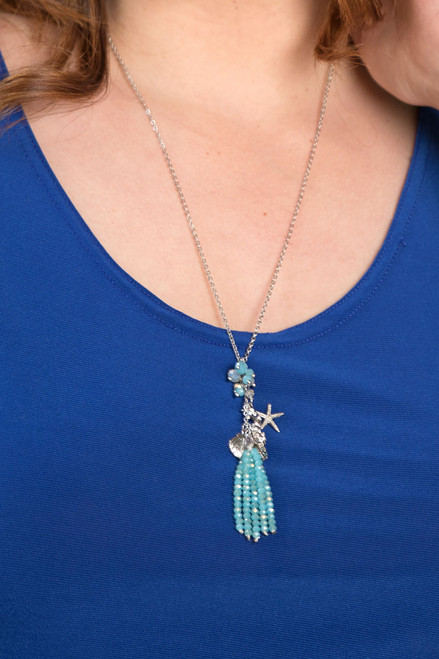 Sealife Mix Charms & Crystal Tassel Necklace - Turquoise