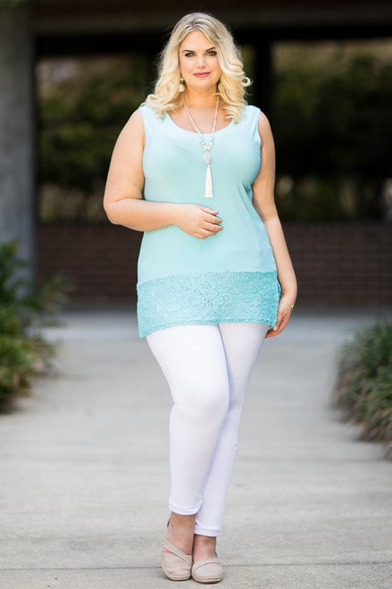 Every Day Lace Trimmed Tank - Aqua