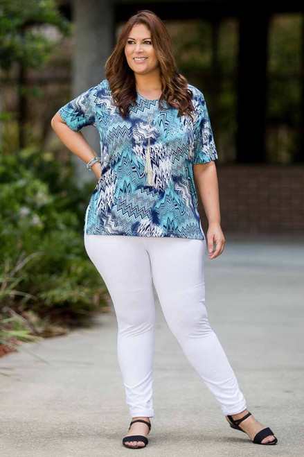 Basic But Never Boring Short Sleeve Shirt - Zig Zag Print