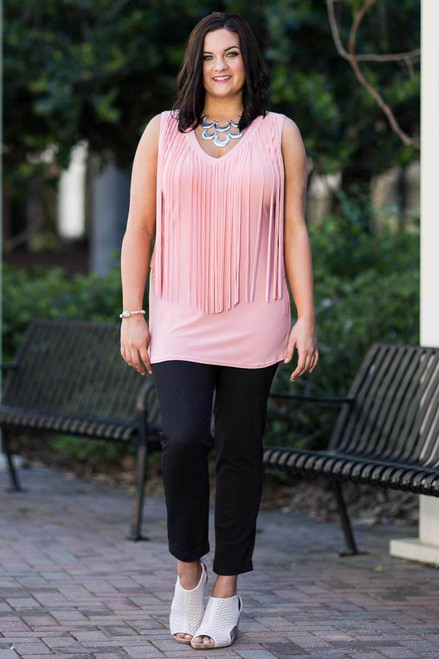 Go With The Flow Fringed Tank Top - Rosa