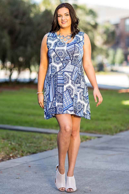 Feel The Beat Sleeveless Tunic Dress - Building Blocks Print