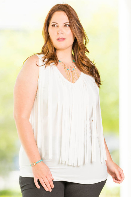 Go With The Flow Fringed Tank Top - Creme