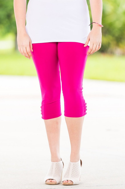 Easy as 1, 2, 3, 4-Button Leggings - Fuchsia