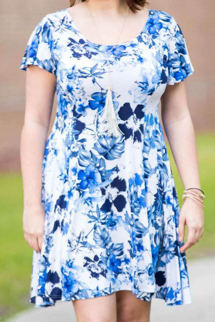 Better Than Ordinary Blouson Dress - Blue Hawaiian Print