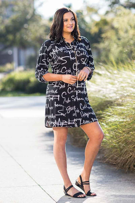 All Buttoned Up Shirt Dress - Script Print