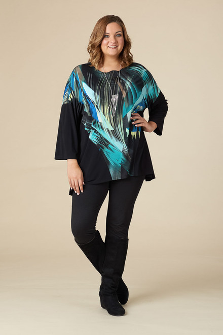 Easy Breezy Drop Shoulder Tunic - BLUE LIGHTS PRINT