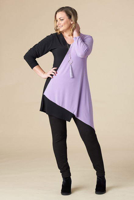 On the Bias Tunic - Lavender Black