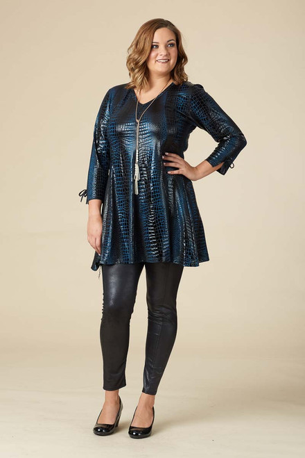 Off the Cuff Tunic - Blue Crocodile Print