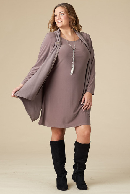 HAPPY GO LUCKY DRESS/VEST SET - TAUPE