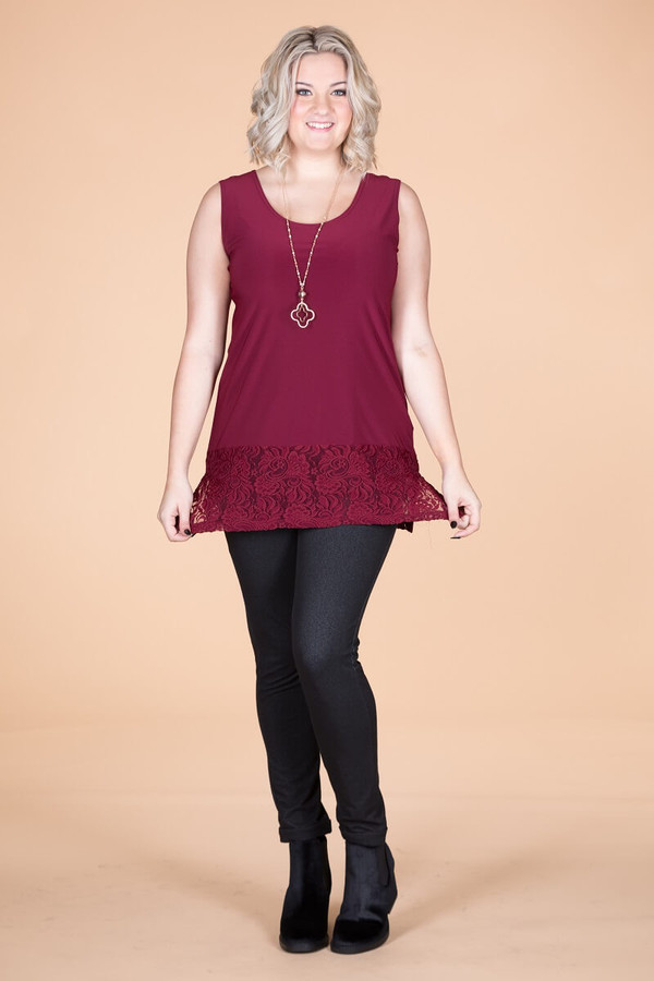 Every Day Lace Trimmed Tank - Wine