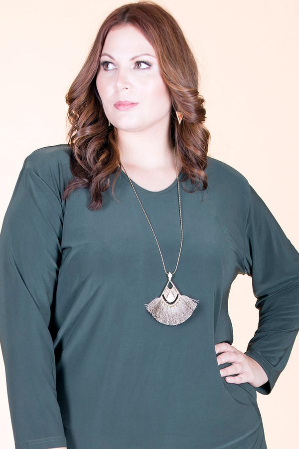 Long Tassel Fan Pendant Antique Chain Necklace – Grey