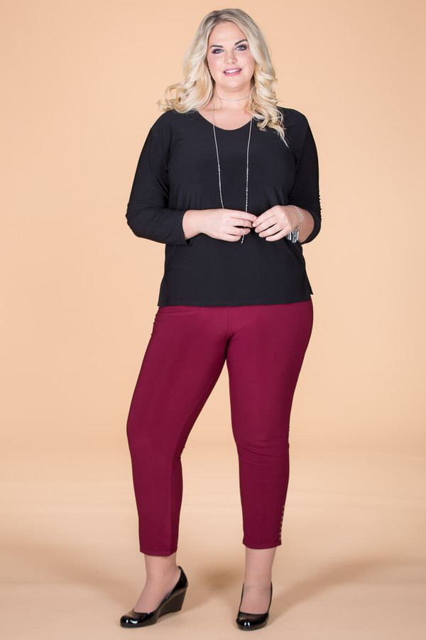All Buttoned Up Legging - Wine