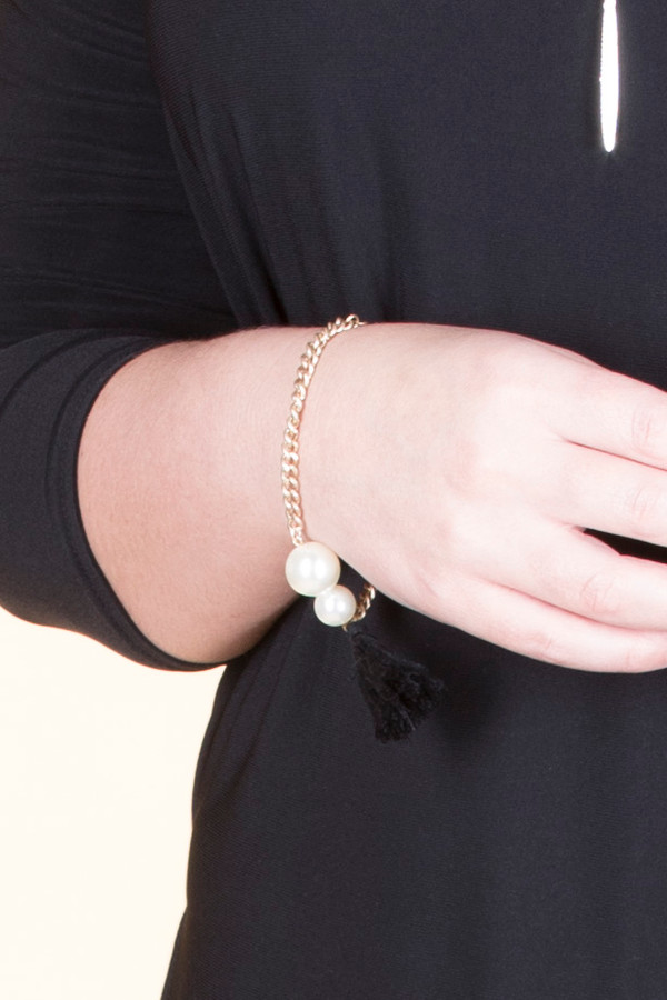 Double Pearl Silk Tassel Chain Bracelet - Gold / Black