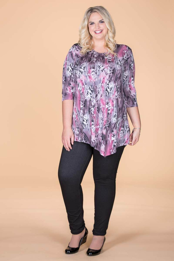 Say it Out Loud Tunic - Pink Feather Print