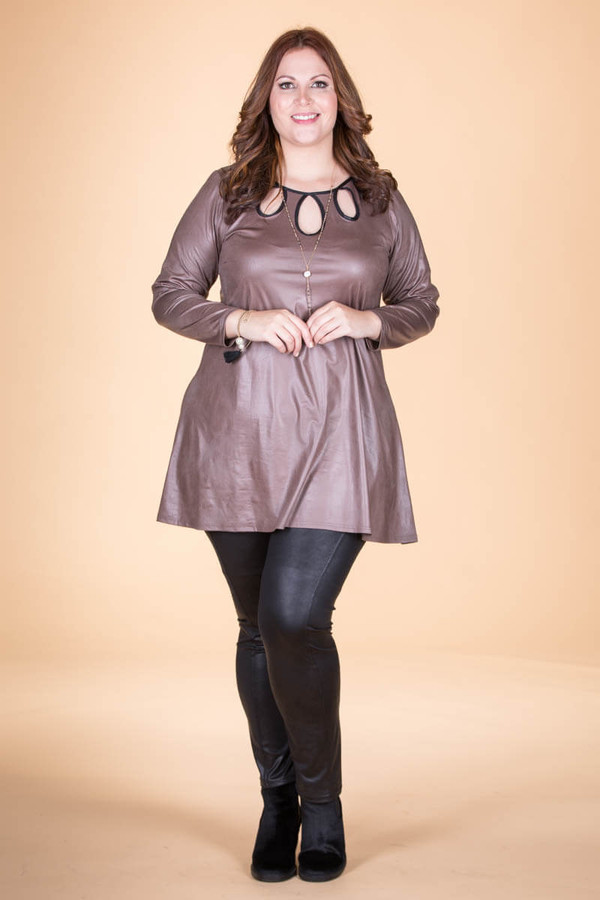 Count on Me Tunic - Taupe Faux Leather