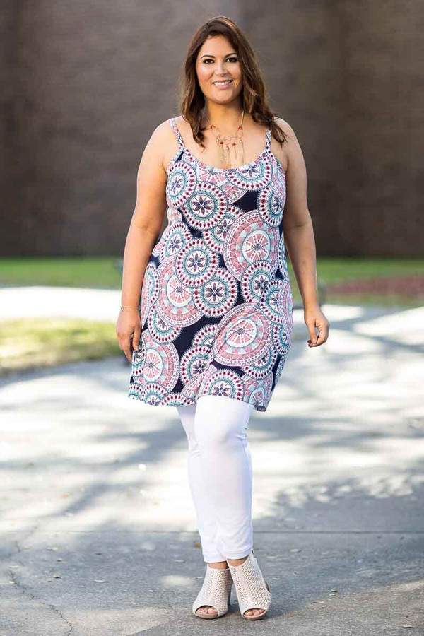 Perfectly on Point Tank Dress - Mandala Print
