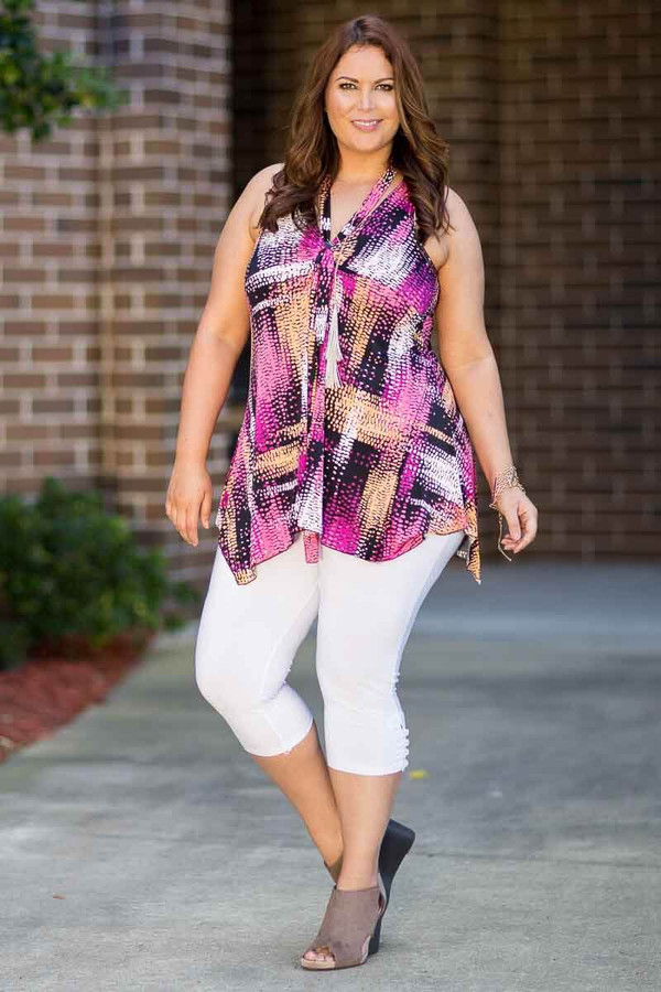Everything You Need Sleeveless Top - Ghost Lights Print