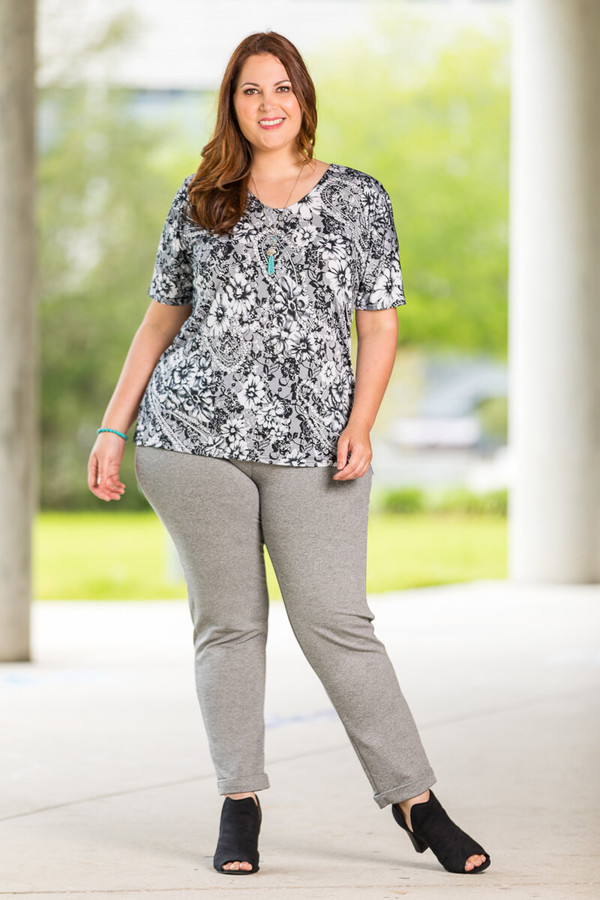 Basic But Never Boring Short Sleeve Shirt - Lace Floral Print