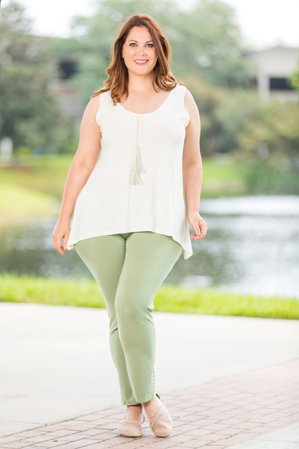 All Buttoned Up Legging - Green Khaki