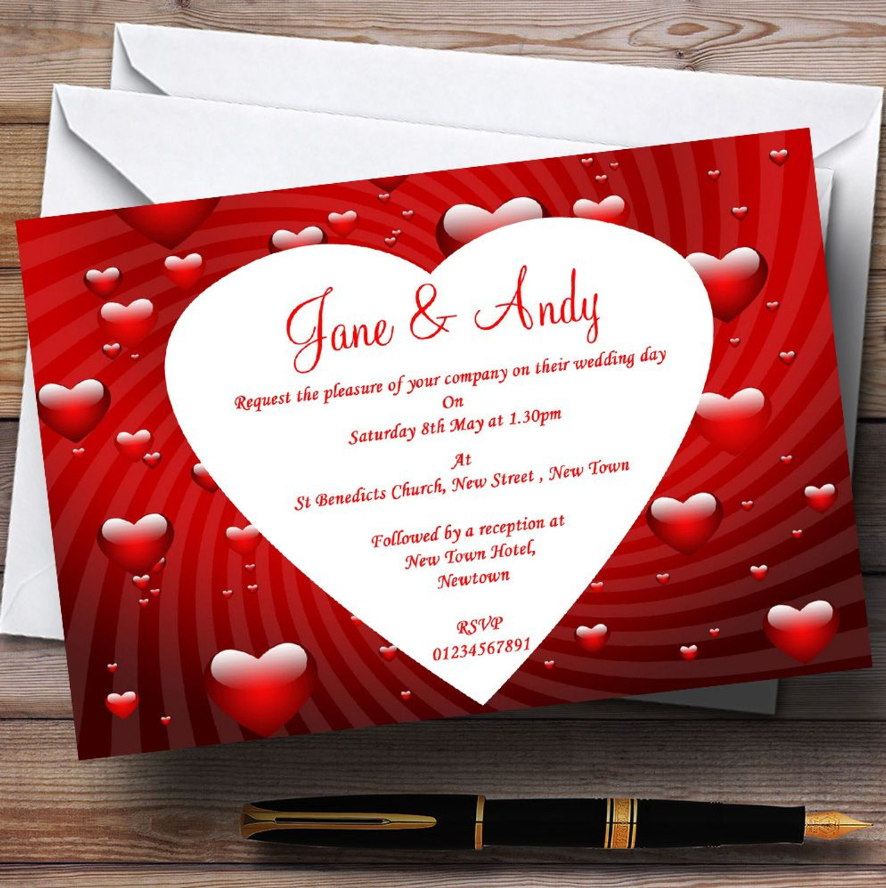 Deep Red Romantic Love Hearts Personalised Wedding Invitations - The ...