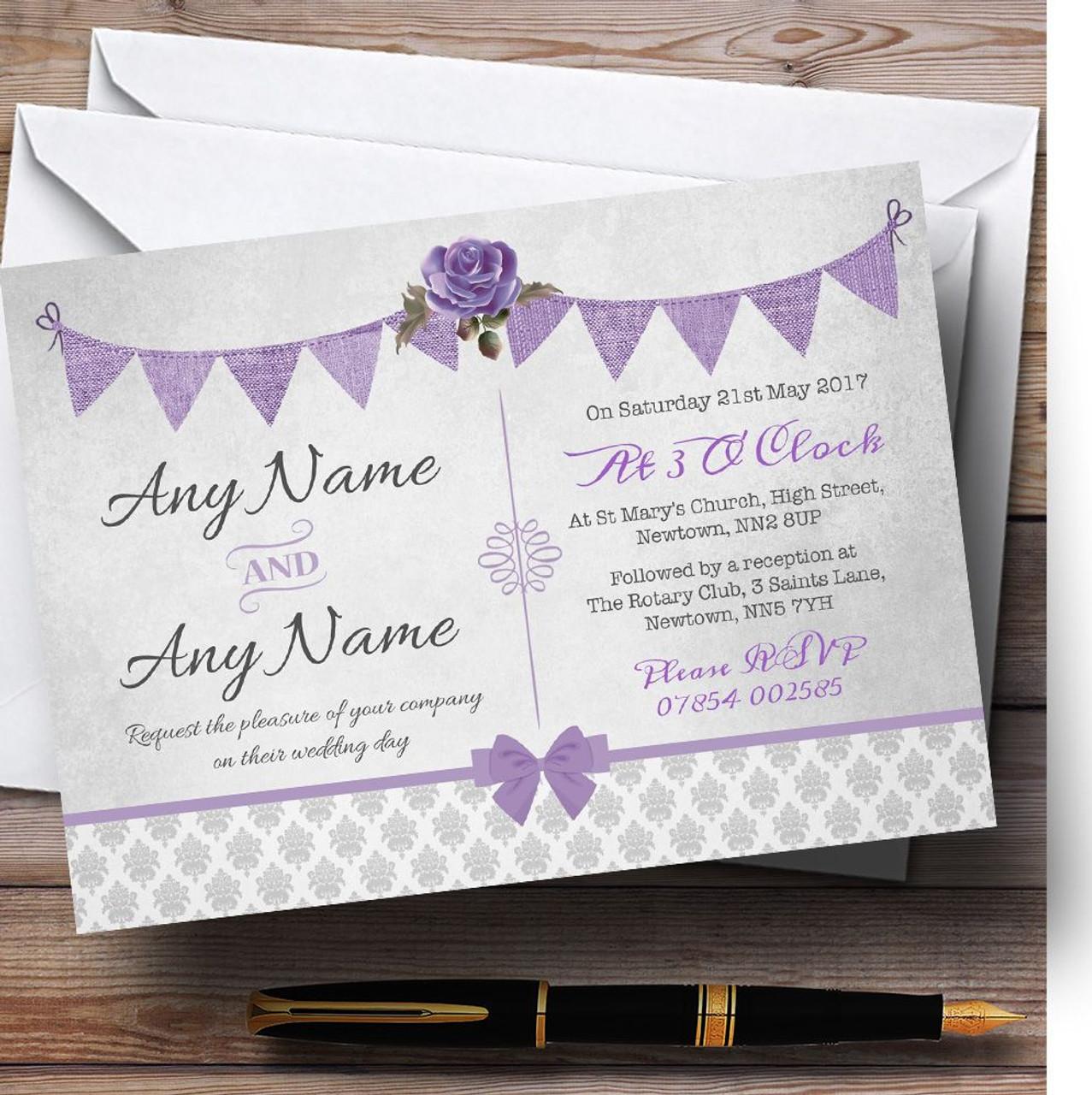 Purple Rustic Wedding Invitations: Vintage Rustic Style Bunting Purple & Silver Personalised