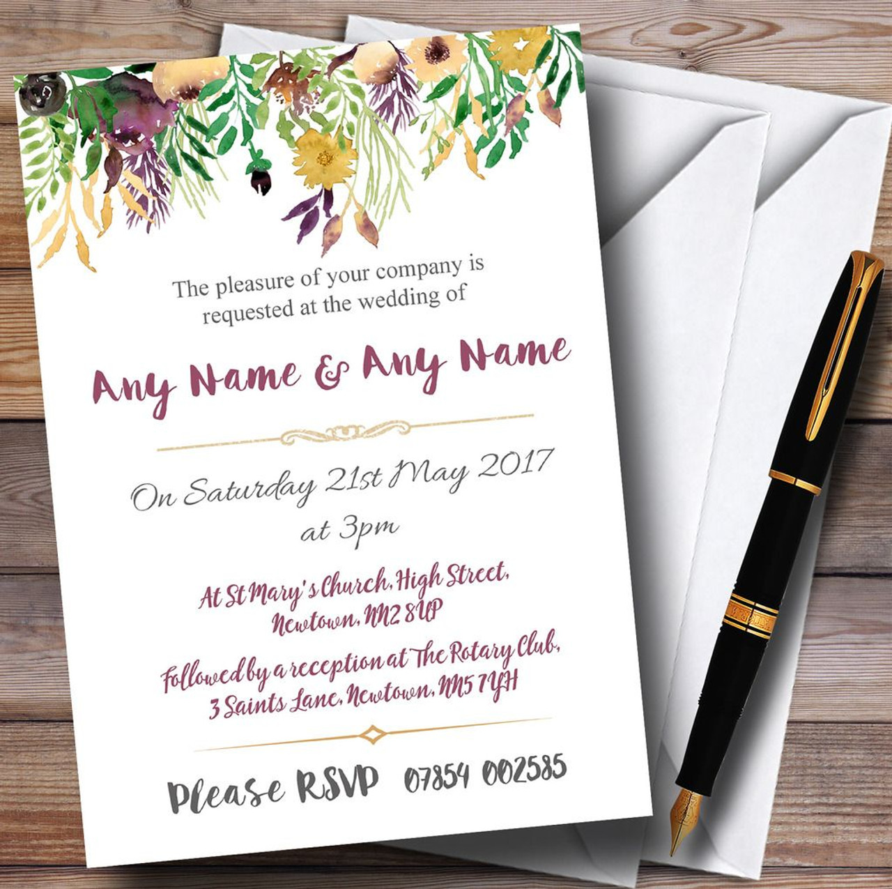 Autumn Plum Watercolour Floral Header Personalised Wedding ...