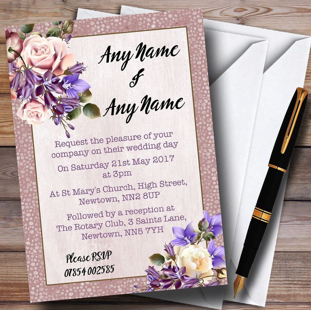 Pale Coral Pink Lilac Watercolour Rose Personalised Wedding