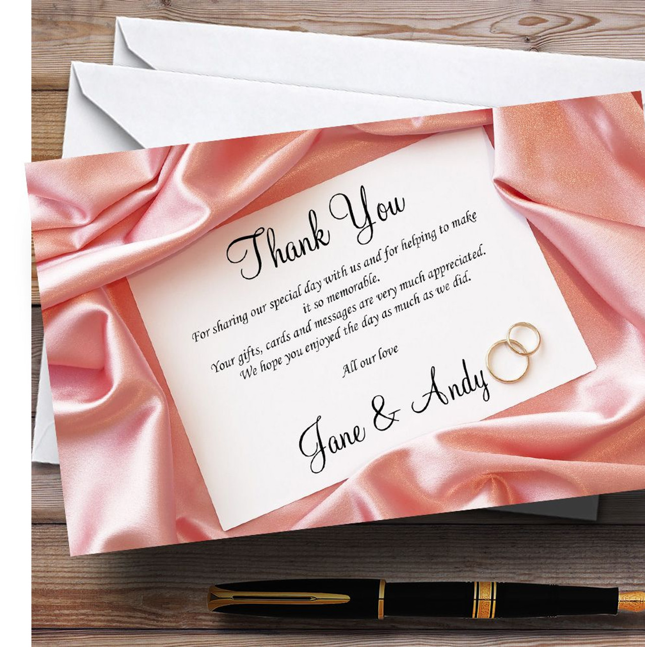 Pink Love Note Letter Personalised Wedding Thank You Cards - The ...