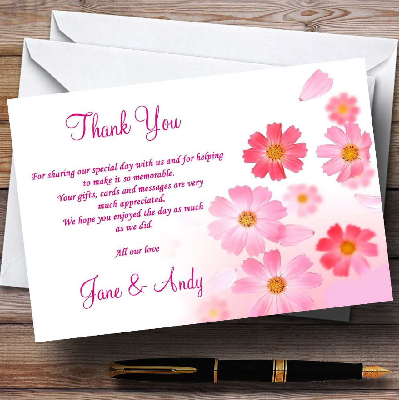 Pink Flowers Pretty Personalised Wedding Thank You Cards - The Card Zoo