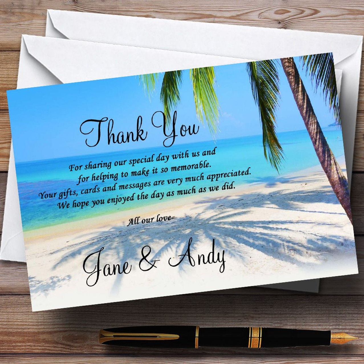 Tropical Beach Palm Tree Personalised Wedding Thank You Cards